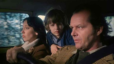 Jack and Wendy Torrance with son, Danny, on their way to the dreaded Overlook Hotel in Stanley Kubrick's 'The Shining.'