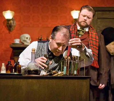 "Terry Edward Moore and Stephen Grenley in the clever and sentimental ""Sherlock Holmes and the Case of the Christmas Carol."" Photo by Erik Stuhaug"