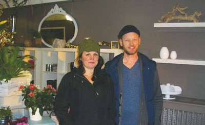 <p><strong>Laurie Gardner (left) and Colin Stewart, in their recently opened Pistil Fresh Flowers and Gifts store. Photo by Pete Treperinas</strong></p>