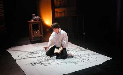 "Connor Toms, in a scene from Book-It Repertory Theatre's production of ""Frankenstein."" Photo by Chris Bennion"