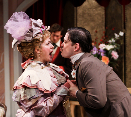 "Emily Grogan and Connor Toms in Seattle Shakespeare Company's 2014 production of ""The Importance of Being Earnest."" Photo by John Ulman"
