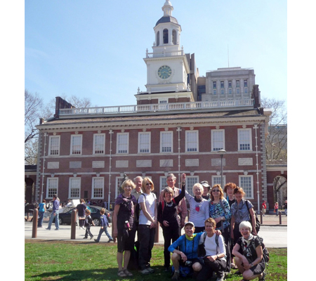 The group finished their 120-mile walk at Independence Hall near the Liberty Bell. Photo courtesy of Kathy Beiver