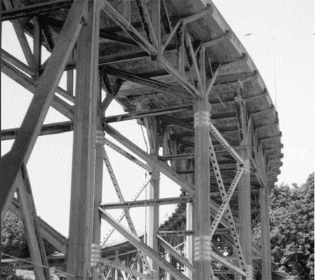 The west end of the Magnolia Bridge, showing the steel bracings added over the years. File photo by Monica Wooton, 2000
