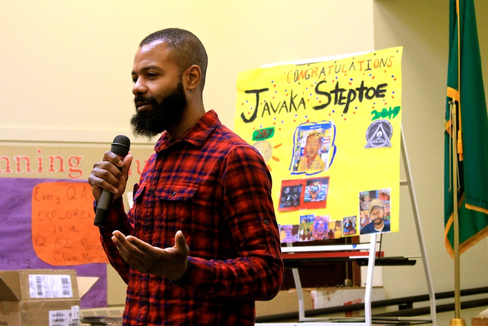 Newly-minted Caldecott Medal winner Javaka Steptoe speaks to students at Queen Anne Elementary during an assembly on Jan. 26. Photo by Joe Veyera