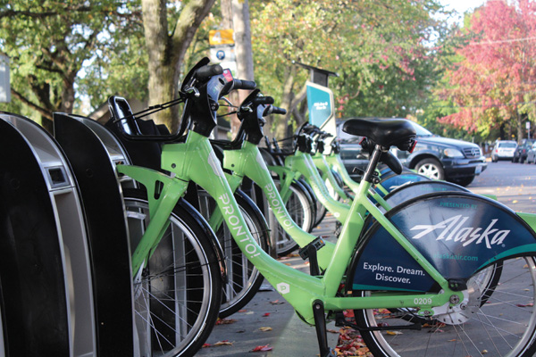 Pronto Cycle Share launched in Seattle back in October 2014. Photo by Brandon Macz