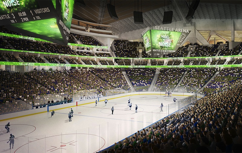 A rendering of the KeyArena hockey layout, if the building is renovated by the Oak View Group. Rendering courtesy of the Oak View Group.