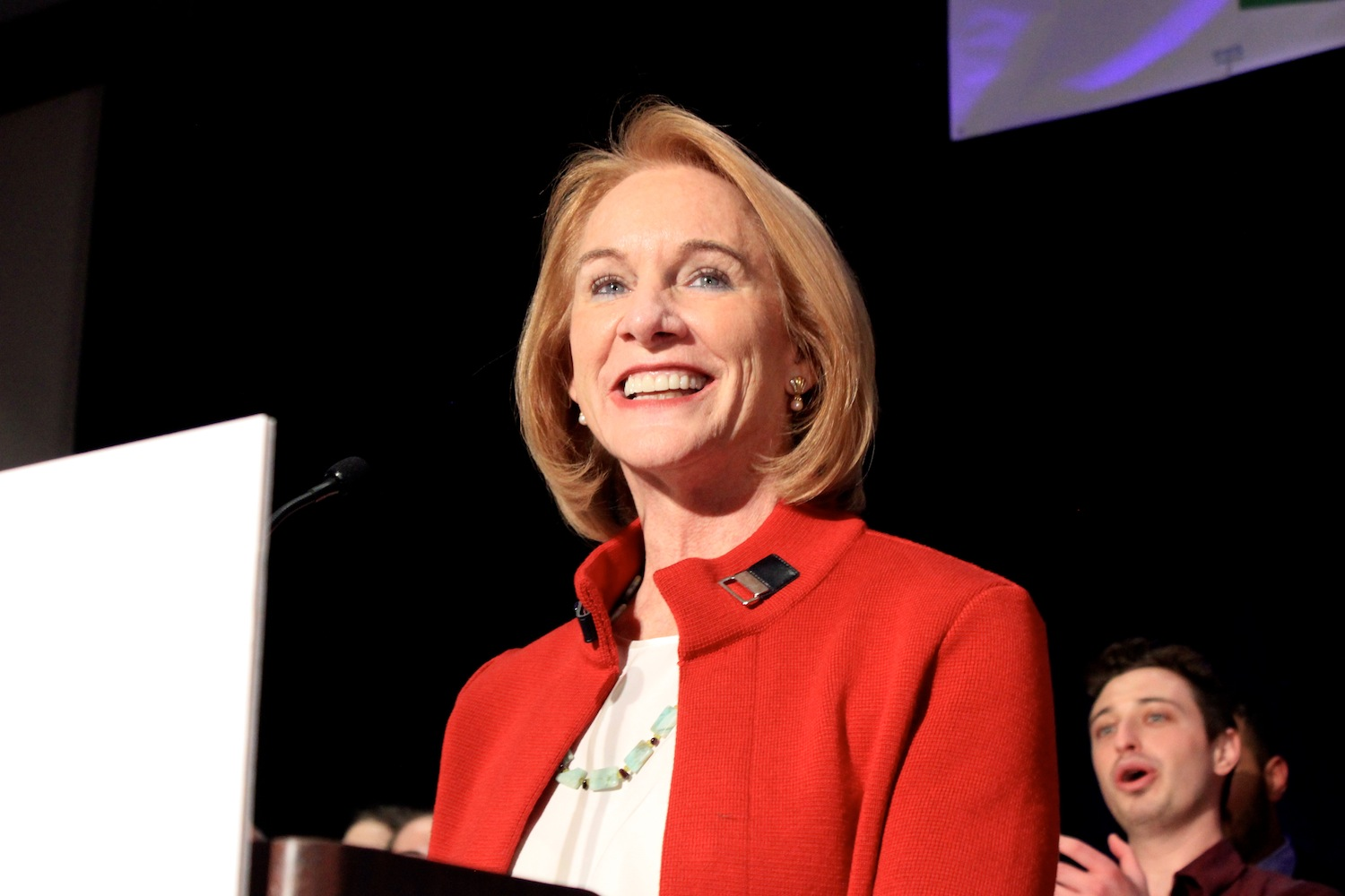 Jenny Durkan smiles after taking the stage at her election night event at the Westin, after the first round of returns showed her with a commanding lead over opponent Cary Moon. Photo by Joe Veyera