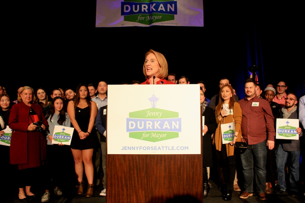 "Backed by volunteers, family, friends, and supporters, Durkan told the crowd her campaign was, ""about what Seattle will be like for that next generation and you have committed to making it the best Seattle ever."" Photo by Joe Veyera"