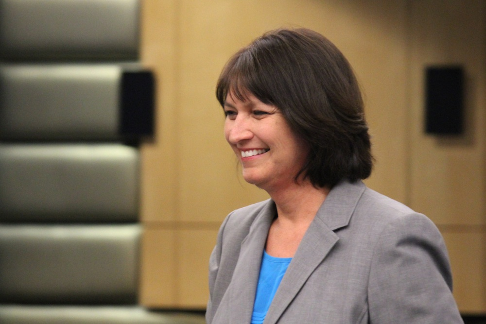 Denise Juneau smiles after giving brief remarks at Wednesday's Seattle School Board meeting. Photo by Joe Veyera