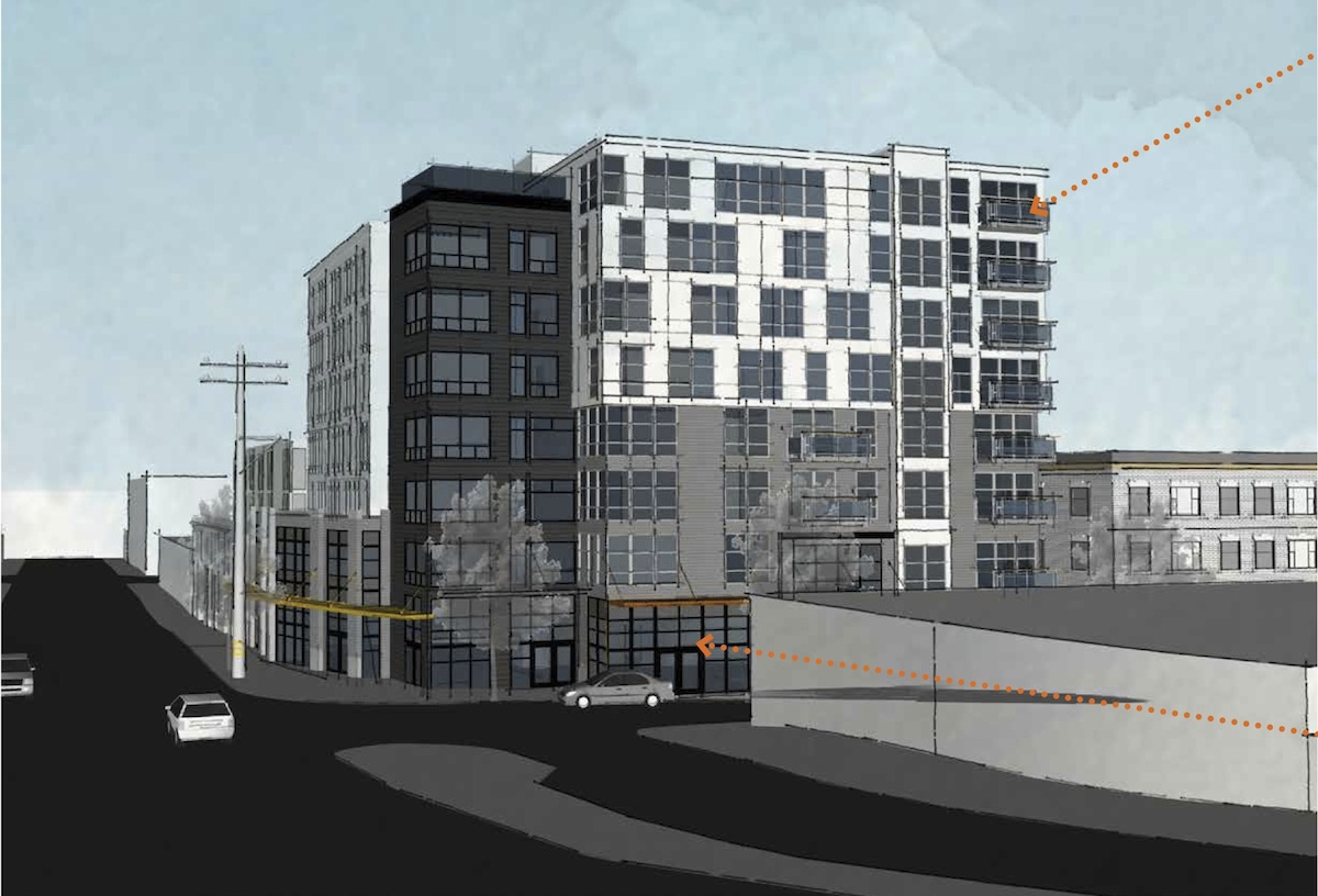 The northeast perspective of a planned development at 631 Queen Anne Ave. N. Courtesy of Vibrant Cities and Jackson | Main Architecture