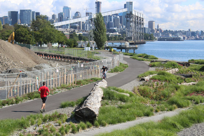 A renovated portion of the Elliott Bay Trail running along the new Expedia campus reopened on Sept. 7.