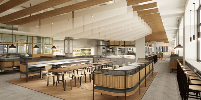 This rendering shows what the market hall will look like when complete.